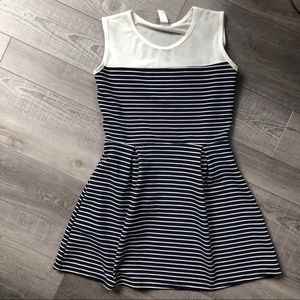 Other - Girls Striped A Line Dress Illusion Neckline Large